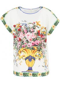 Хлопковый топ с ярким принтом Dolce & Gabbana