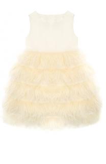 Шелковое платье с отделкой пером страуса Oscar de la Renta