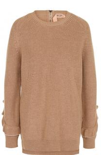 Шерстяной пуловер с круглым вырезом и оборками No. 21