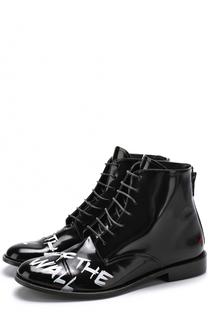 Высокие кожаные ботинки на шнуровке с контрастной отделкой Joshua Sanders