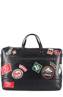Кожаная дорожная сумка с плечевым ремнем и контрастными нашивками Bally