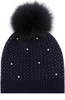 Шерстяная шапка фактурной вязки с меховым помпоном и декором Yves Salomon Enfant