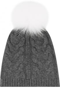 Шерстяная шапка фактурной вязки с меховым помпоном Yves Salomon Enfant
