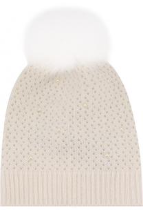 Шерстяная вязаная шапка с меховым помпоном и декором Yves Salomon Enfant