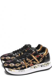 Комбинированные кроссовки Conny с вышивкой Premiata