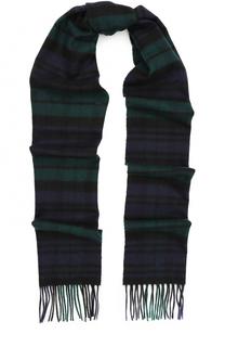 Вязаный шарф в клетку из кашемира с бахромой Johnstons Of Elgin