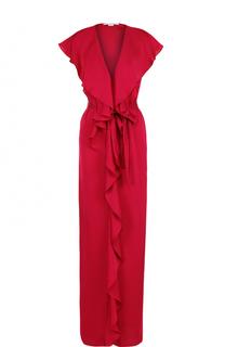 Платье-макси с поясом и оборками Stella McCartney
