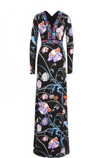 Платье-макси с V-образным вырезом и принтом Emilio Pucci