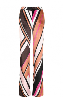 Бархатные расклешенные брюки с ярким принтом Emilio Pucci
