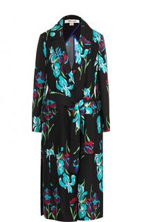 Шелковое пальто с ярким принтом и поясом Diane Von Furstenberg