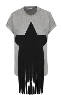 Хлопковая футболка с круглым вырезом и декоративной отделкой Stella McCartney