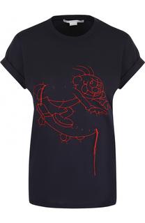Хлопковая футболка с контрастной отделкой Stella McCartney