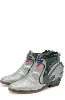Комбинированные ботинки с декоративной отделкой Stella McCartney