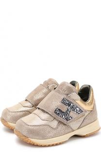 Кожаные кроссовки с застежкой велькро Hogan