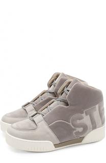 Высокие бархатные кроссовки на шнуровке Stella McCartney