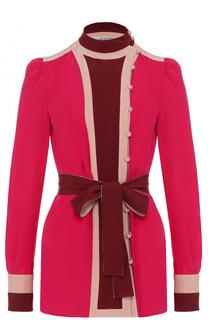 Шелковая блуза с поясом и воротником-стойкой Valentino