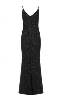 Платье-макси с пайетками и высоким разрезом Chapurin