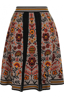 Хлопковая мини-юбка с принтом и широким поясом M Missoni