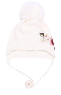 Вязаная шапка с вышивкой и меховым помпоном Monnalisa