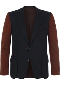 Однобортный кашемировый пиджак с контрастными рукавами Zegna Couture