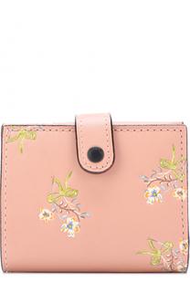 Кожаный кошелек на кнопке с цветочным принтом Coach