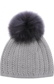 Кашемировая шапка фактурной вязки с меховым помпоном Inverni