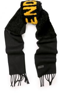 Шерстяной шарф с меховой отделкой Fendi