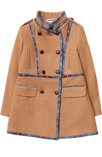 Шерстяное пальто с контрастной отделкой Oscar de la Renta