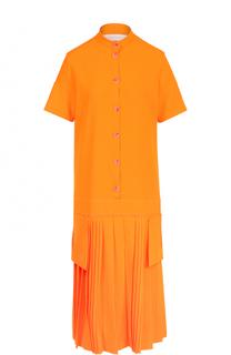 Платье-рубашка с плиссированной юбкой Victoria by Victoria Beckham
