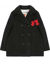 Шерстяное двубортное пальто с бантом Dolce & Gabbana