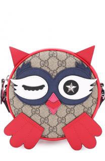 Текстильная сумка с кожаным декором Gucci