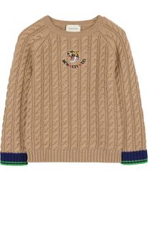 Шерстяной свитер фактурной вязки с нашивкой Gucci