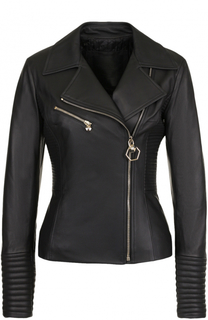 Приталенная кожаная куртка с косой молнией Philipp Plein