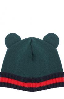 Шерстяная шапка с контрастным отворотом Gucci