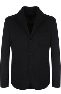 Однобортный пиджак из смеси кашемира и шерсти с шалевым воротником Giorgio Armani