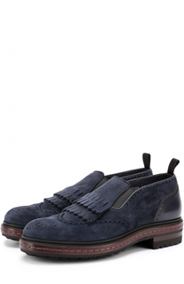 Замшевые ботинки без шнуровки с брогированием Santoni