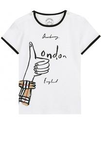Хлопковая футболка с контрастной отделкой и принтом Burberry