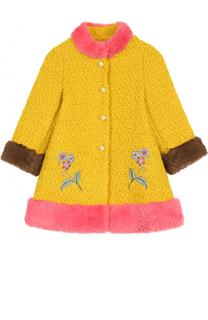 Шерстяное пальто с контрастной отделкой и нашивками Gucci