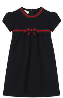 Хлопковое платье с контрастной отделкой и бантом Gucci