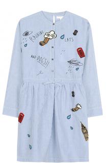 Платье из смеси хлопка и льна Burberry