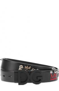 Кожаный ремень с декоративной отделкой Dolce & Gabbana