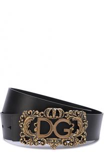 Кожаный ремень с фактурной пряжкой Dolce & Gabbana