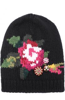 Шерстяная шапка с цветочным принтом и декором Dolce & Gabbana