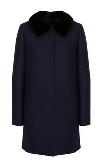 Пальто из смеси шерсти и кашемира с отделкой из меха норки Tara Jarmon
