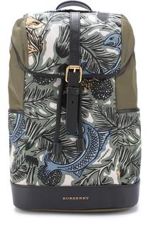 Текстильный рюкзак с принтом и кожаной отделкой Burberry
