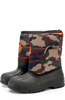 Резиновые сапоги с текстильной вставкой и логотипом бренда Polo Ralph Lauren