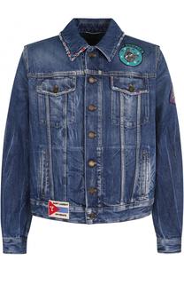Джинсовая куртка на пуговицах с потертостями и контрастными нашивками Saint Laurent