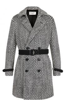 Двубортное шерстяное пальто с поясом Saint Laurent