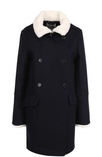 Двубортное шерстяное пальто прямого кроя Kenzo