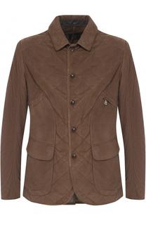 Стеганая замшевая куртка на кнопках с отложным воротником Bogner